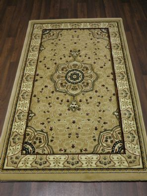 Woven Backed Beige/Ivory Traditional Carved Rug 80cm x 140cm Approx 5x3 Top Quality